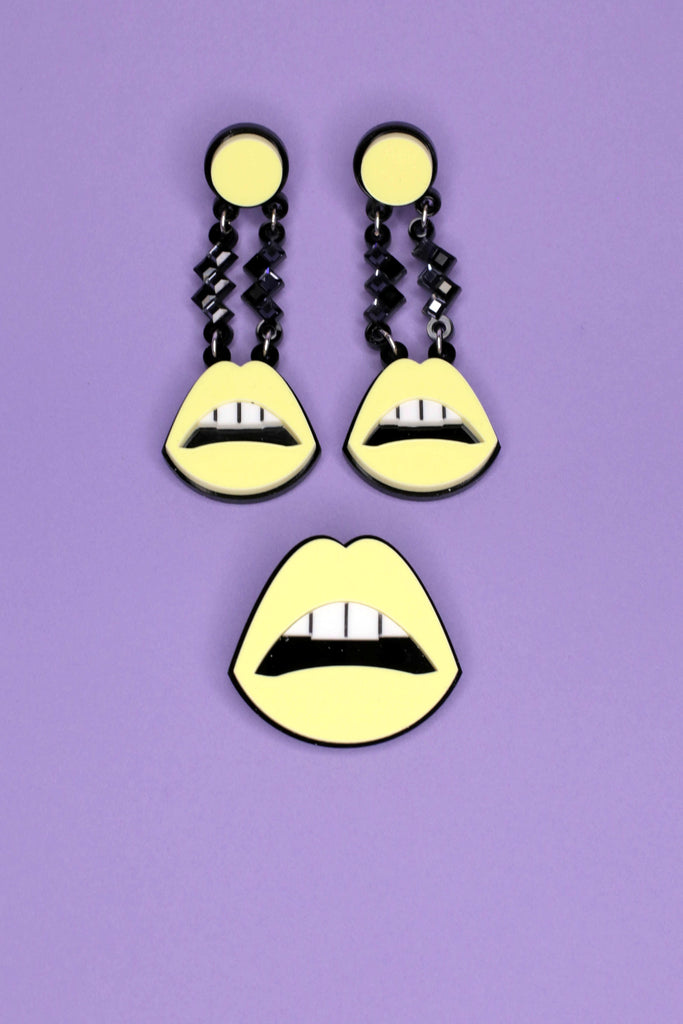 Yellow Laser cut Lip Shaped Jennifer Loiselle Earrings