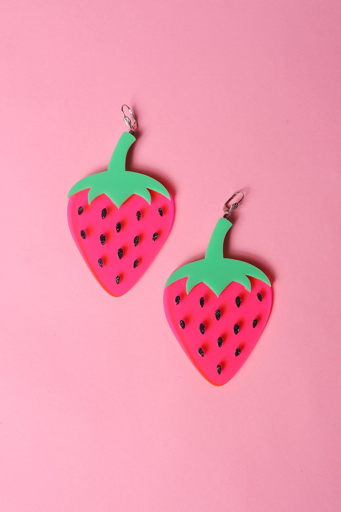 Marina Fini plexiglass laser cut strawberry earrings