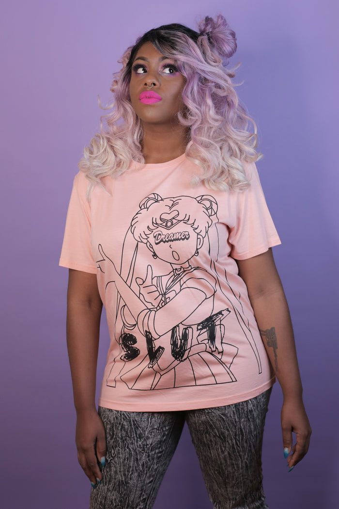 Oversized salmon colored Sailor Moon Slut tee by the Dreamer