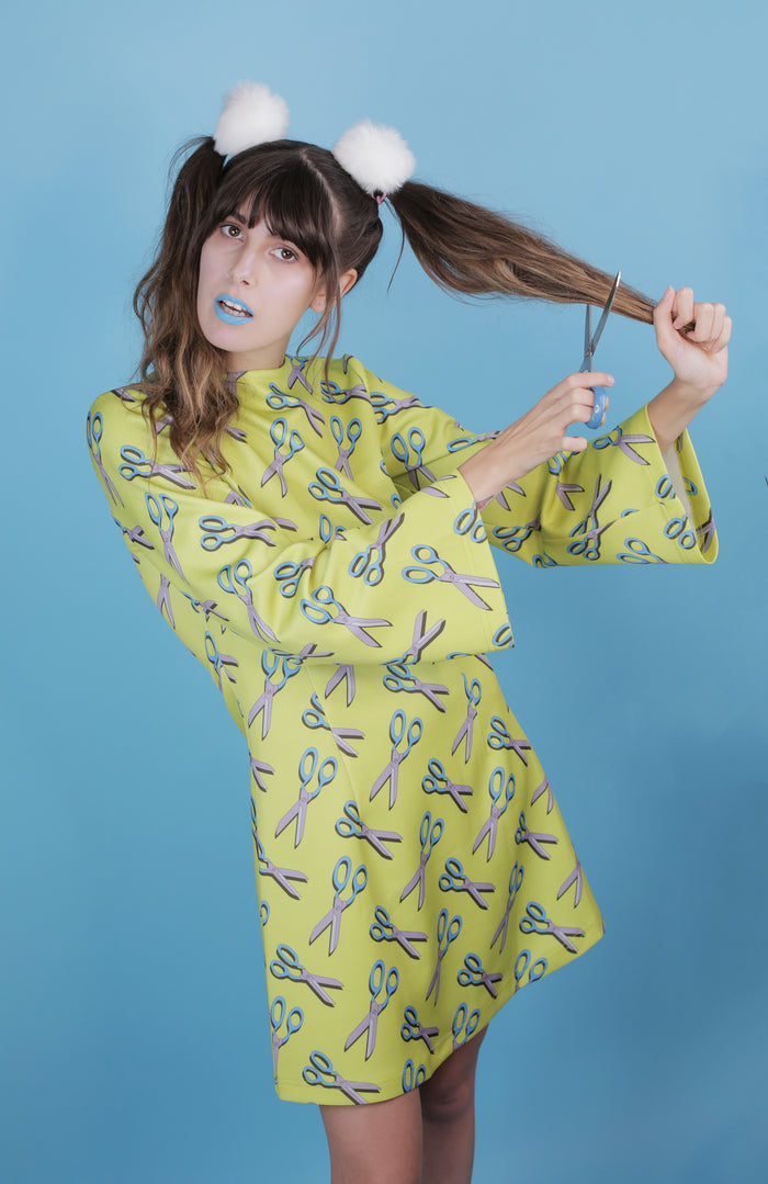 Butter yellow and blue scissor all over print Hayley Elsaesser dress