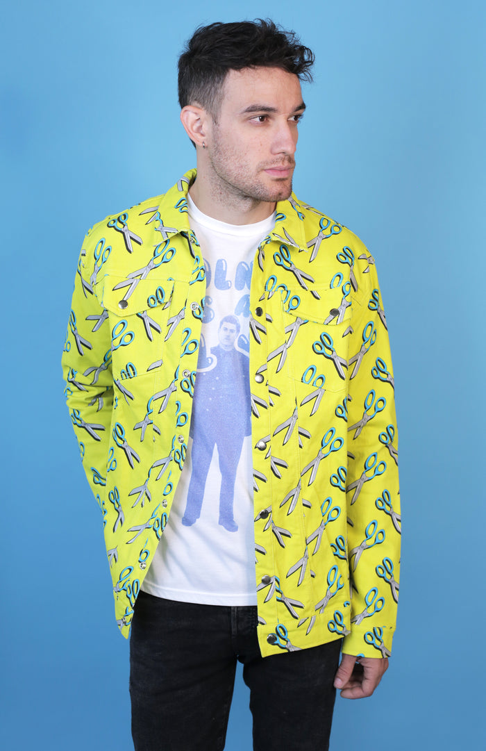 Hayley Elsaesser Yellow Scissor Print Denim Jacket