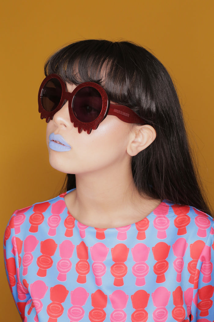 Glitter Red Oversized Hayley Elsaesser Slime Time Sunglasses