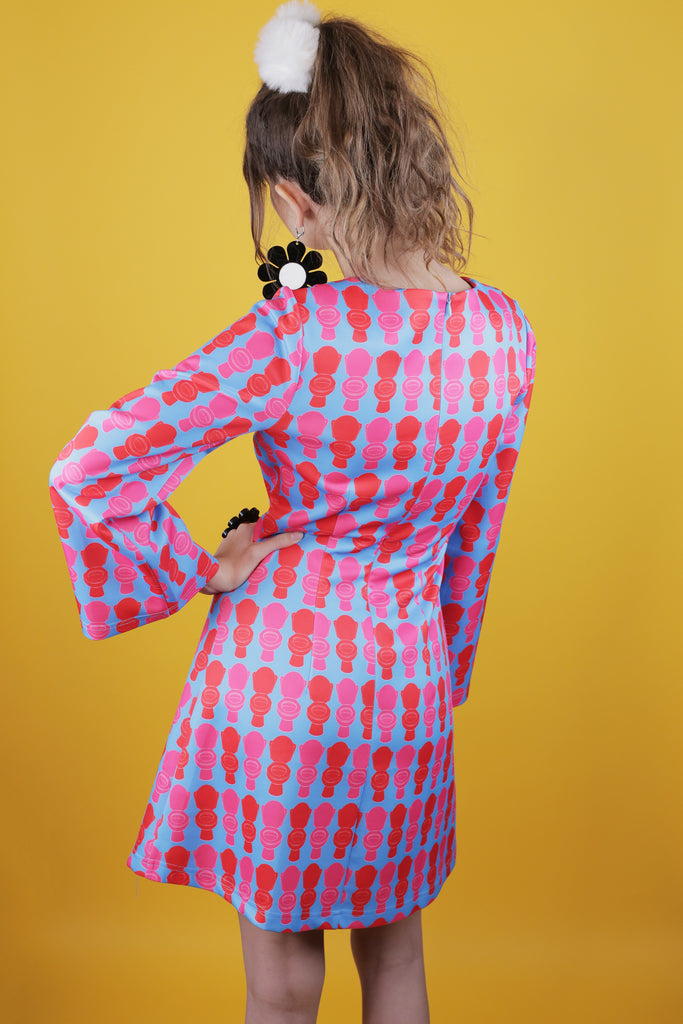 Toilet All Over Print Hayley Elsaesser A line Dress with Bell Sleeves