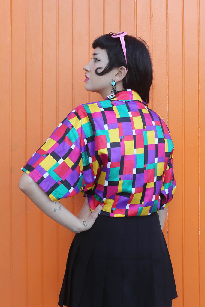 90's Color Block Crop