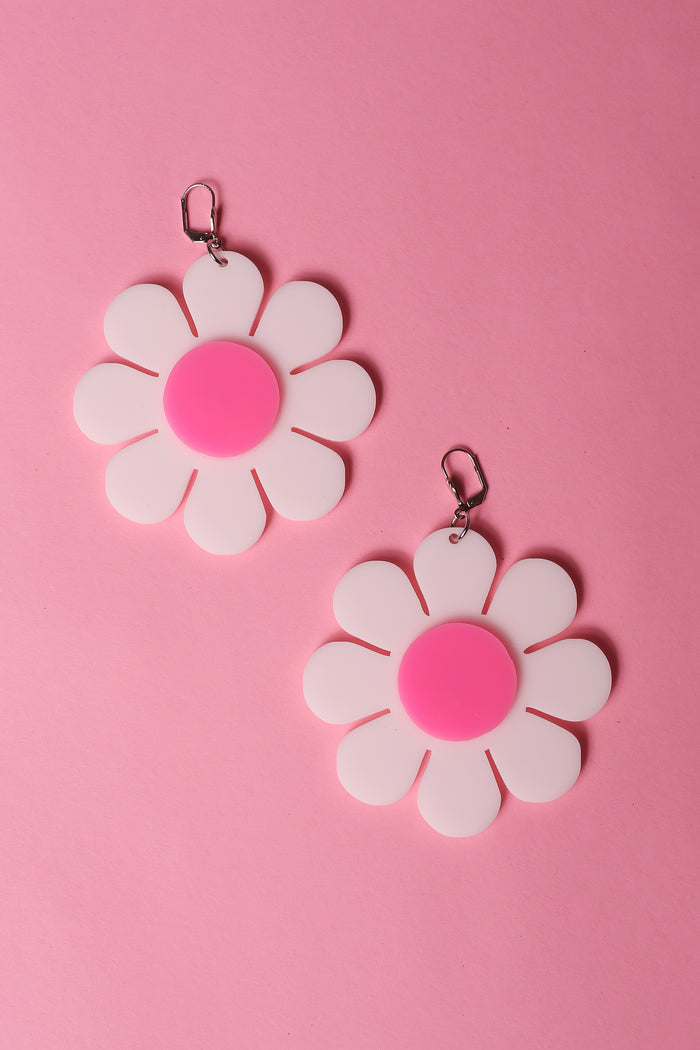 white and pink flower power earrings by designer marina fini