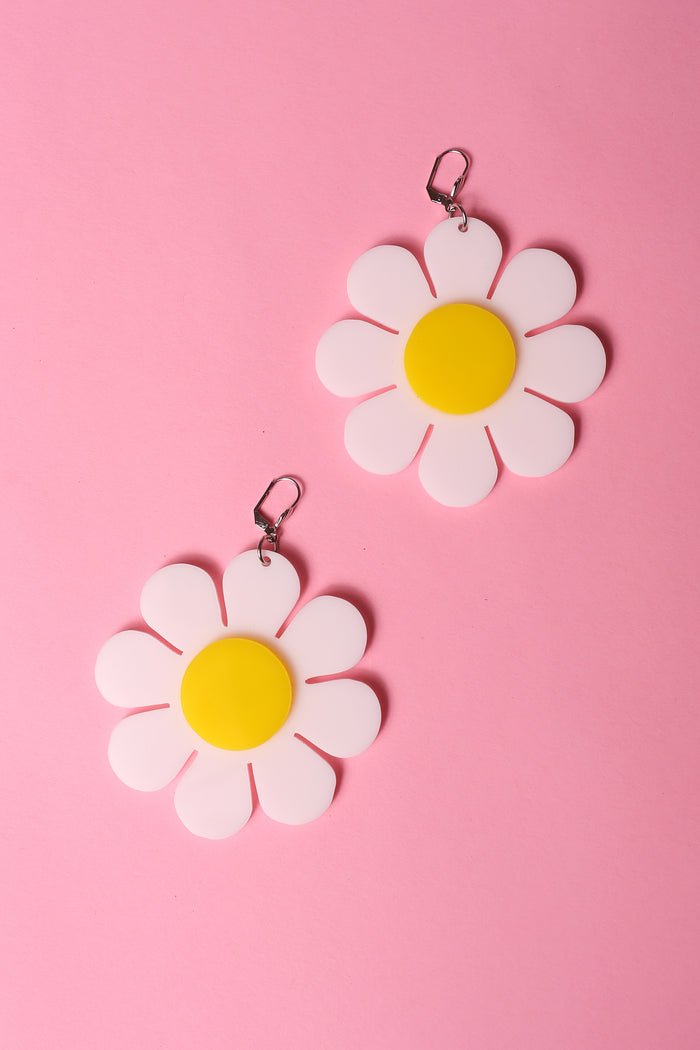 white and yellow flower power earrings by designer marina fini