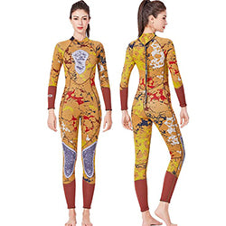 Dive and Sail Ladies 1 Piece 3mm Yellow Camouflage Wetsuit