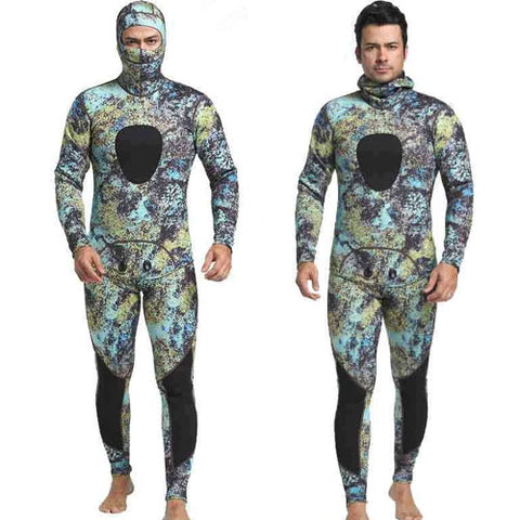 MYLEDI Hooded Men's 3mm 2-Piece Closed Cell Reef Camo Wetsuit