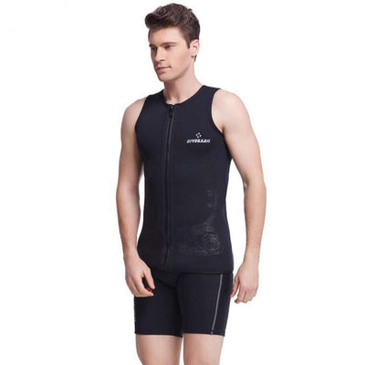 3MM Men's Diving Two Piece Wetsuit Diving Surfing Vest Sleeveless Swimsuit