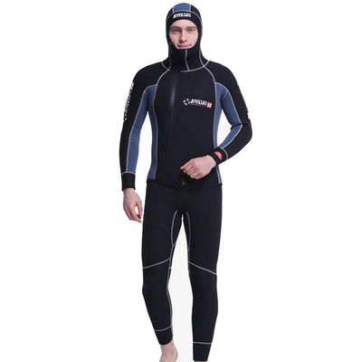 5MM Men's Diving Suit Two Piece Hooded Wetsuit Thick Warm Swimsuit