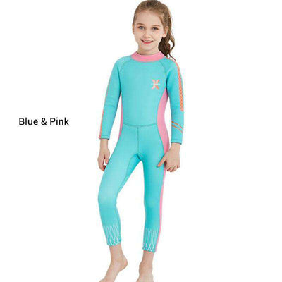 DIVE & SAIL Girls 2.5mm Full Body Wetsuit Junior Back Zip Snorkeling Suit