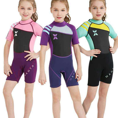 One Piece 2.5mm Girls Flatlock Shorty Wetsuit