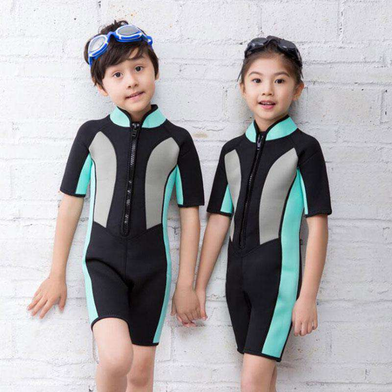 HISEA Childrens Color Block Shorty Wetsuit Snorkeling Diving Suit with Stand Up Collar
