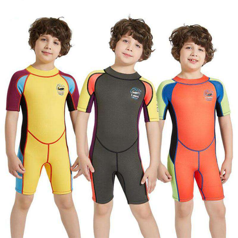 Dive & Sail 2.5mm Shark Cartoon Boys Shorty Wetsuit Kids Snorkeling Surfing Suit