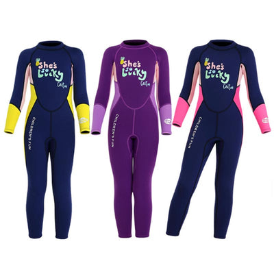 DIVE & SAIL Kids 2.5MM Letter Print Full Wetsuit for Girls