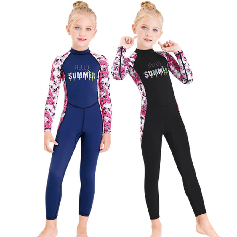 DIVE & SAIL Girls Kids Floral Full Dive Skin Suit