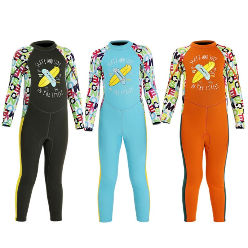 DIVE & SAIL 2.5mm Junior Cartoon Letter Print Full Wetsuit