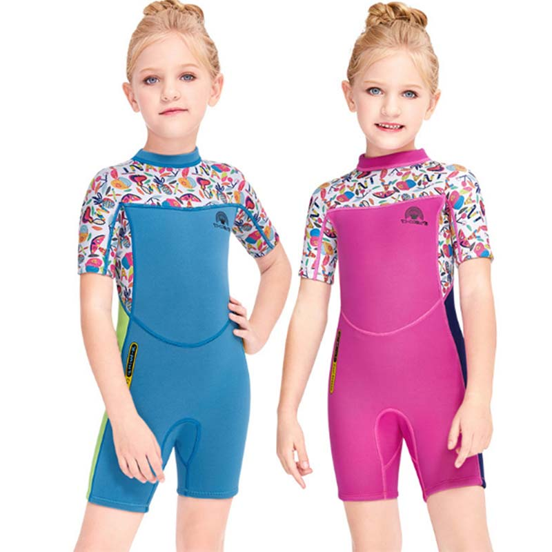 DIVE & Sail Girls Cute Cartoon 2.5mm Shorty Wetsuit