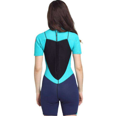 Sbart Ladies 2MM Neoprene Shorty Wetsuit One Piece Back Zip Snorkeling Suit
