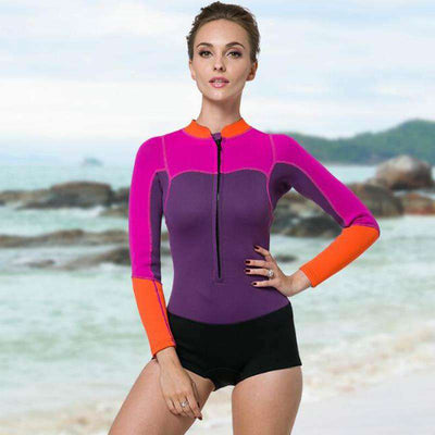 Womens 2MM Long Sleeve One Piece Springsuit Body Wetsuit