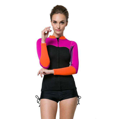 Women's 2mm Front Zip Diving Wetsuit Jacket Top