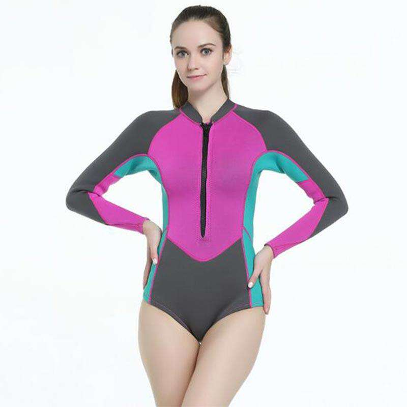 MYLEDI Ladies 2mm One Piece Springsuit Long Sleeve Snorkeling Wetsuit
