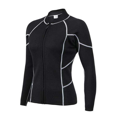 2MM Womens Long Sleeve Font Zip Diving Wetsuit Top Jacket