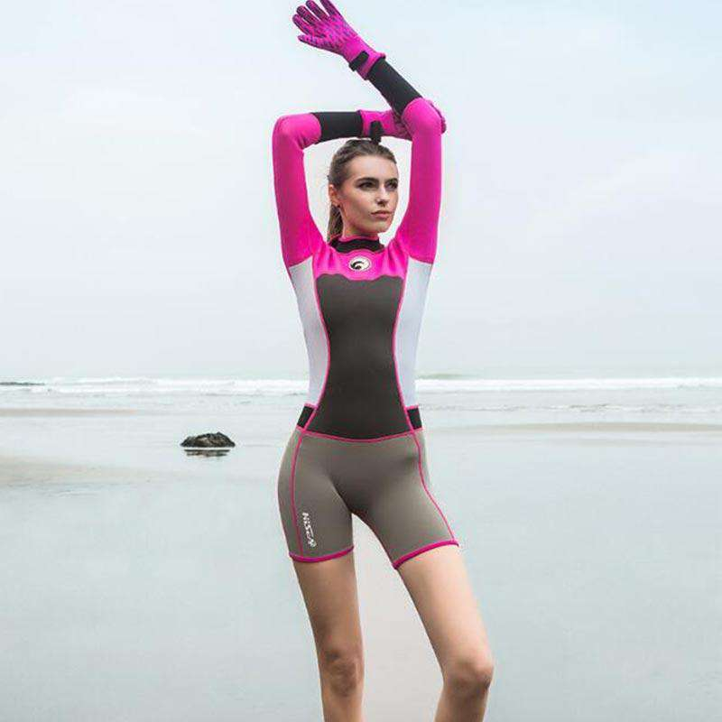 HISEA Ladies 1.5mm Springsuit Long Sleeve Short Leg Freediving Wetsuit