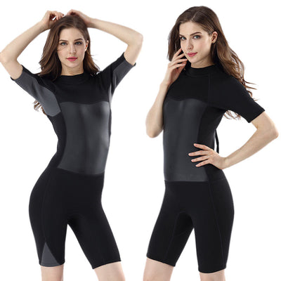 MYLEDI Ladies Neoprene 2MM Shorty Wetsuit Short Sleeved Surfing Diving Suit