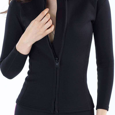 MYLEDI Ladies 2mm Front Zip Diving Wetsuit Jacket with Standup Collar