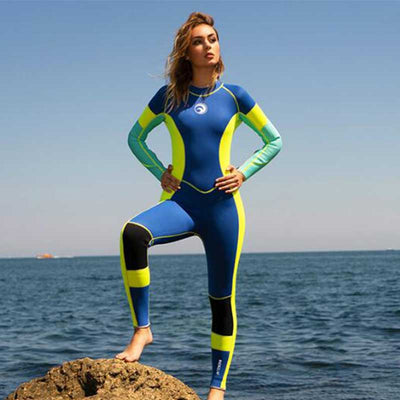 HISEA Ladies 3MM Full Length Freedive Wetsuit Colorful Back Zip Diving Suit