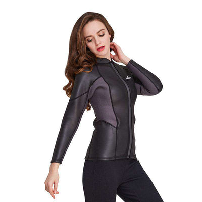 Sbart Womens 2mm Wetsuit Jacket Warm Smooth Skin Freedive Front Zip Top