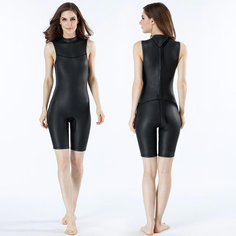 MYLEDI Womens Short Jane Wetsuit 2mm Smoothskin Surfing Snorkeling Suit