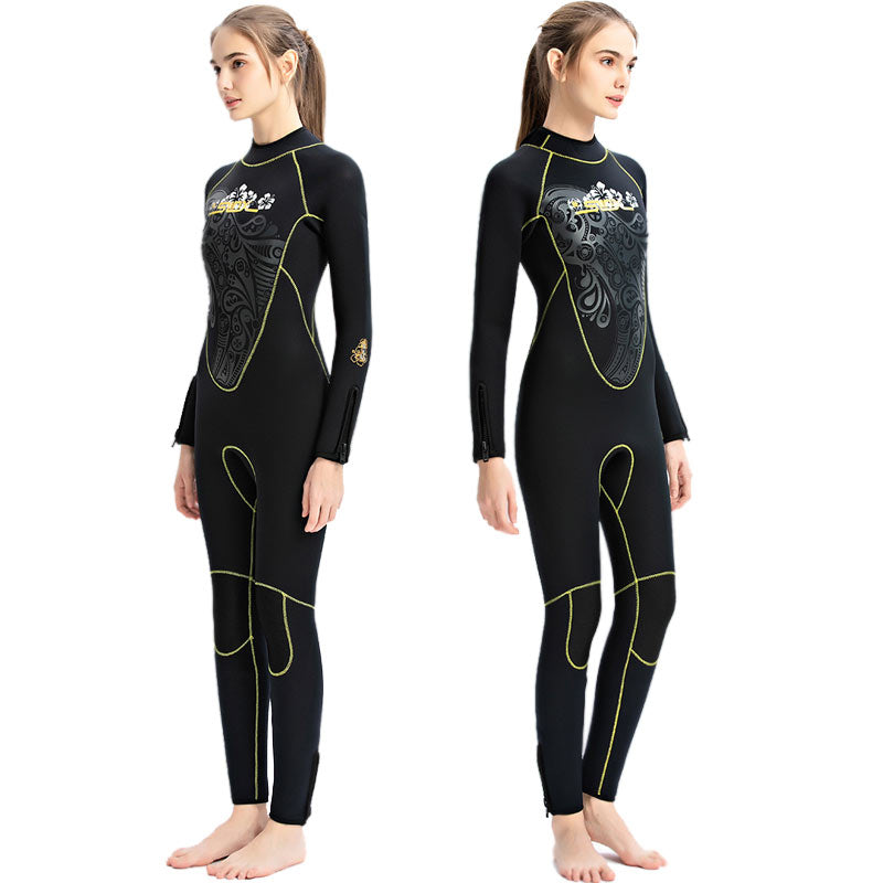 SLINX Ladies 5MM Floral Print Back Zip Full Wetsuit