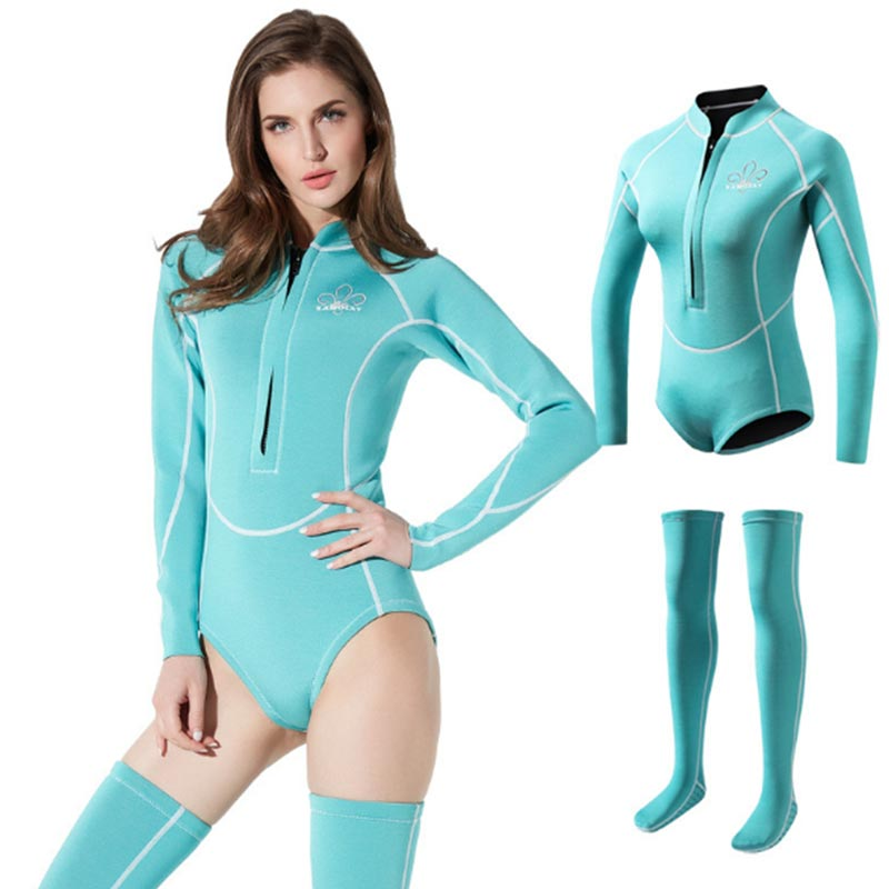 SABOLAY Ladies 2mm Front Zip Spring Wetsuit with Stockings