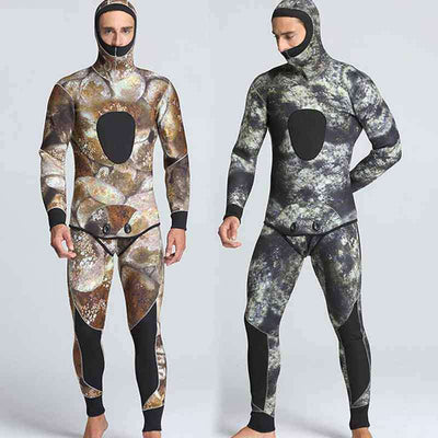 Men's 2-Piece Closed Cell 5mm Hooded Reef Camo Wetsuit