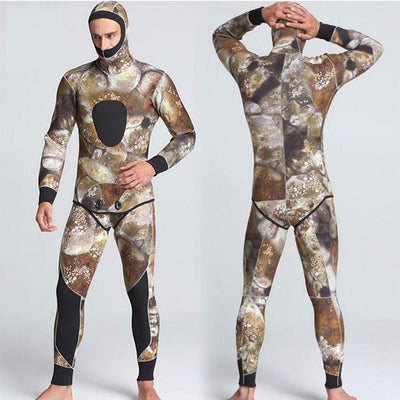 MYLEDI Men's 2-Piece 5mm Reef Camo Wetsuit with Hood