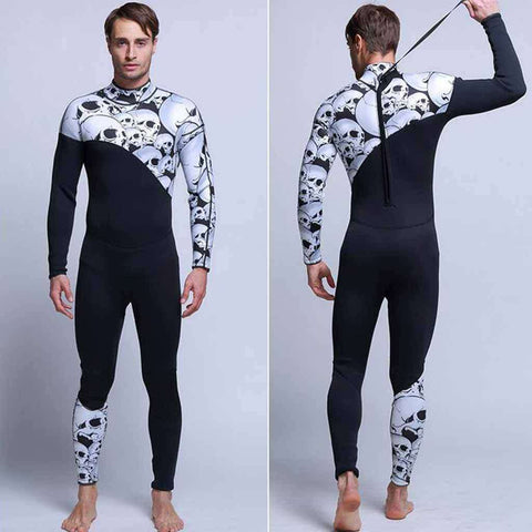 Skull Pattern Men's 3mm One Piece Neoprene Surfing Wetsuit