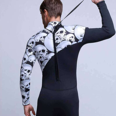 MYLEDI Men's 3mm Skull Skeleton Freediving Wetsuit