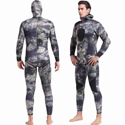 Marble 2-Piece Spearfishing Hooded Camo Wetsuit for Men