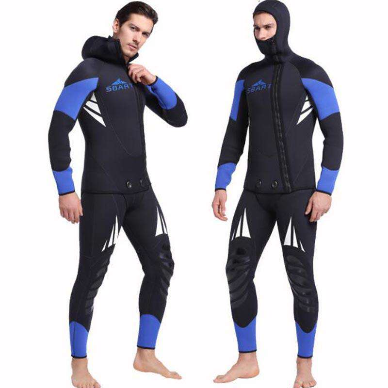 Sbart Men's Two Piece 5MM Hooded Mask Front Zip Wetsuit