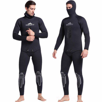 Two Piece Men's 5MM Flatlock Zipperless Wetsuit with Hood