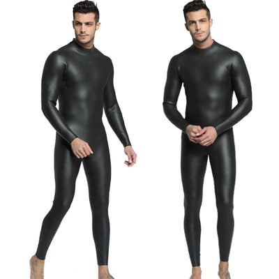 MYLEDI Men's 3mm Smooth Skin Wetsuit Full Black Rubber Suit for Freediving Windsurfing