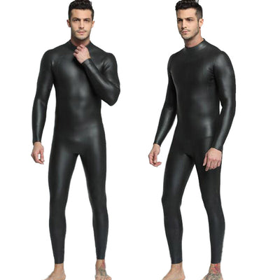 MYLEDI Mens 3mm Smooth Skin Wetsuit Full Black Open Cell Suit for Freediving Windsurfing