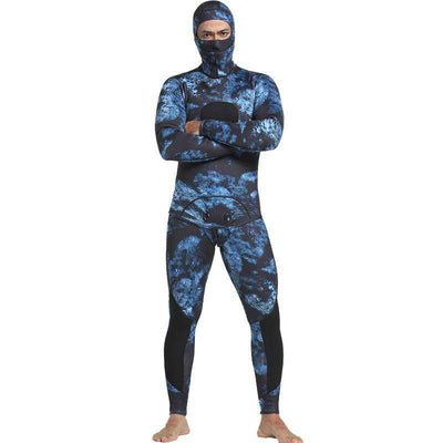 2-Piece 5mm Men's Spearfishing Camo Wetsuit with Hood