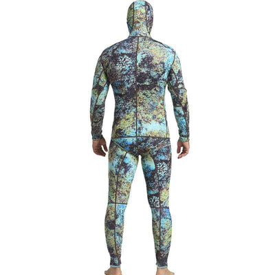 MYLEDI Hooded Men's 3mm 2-Piece Closed Cell Reef Camo Wetsuit for Spearfishing