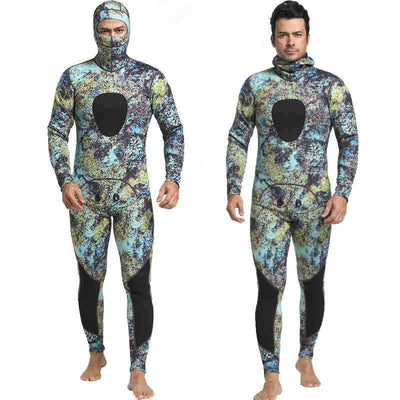 Hooded Men's 3mm 2-Piece Closed Cell Reef Camo Wetsuit