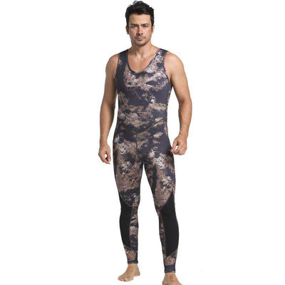 Two Piece Men's 3mm Camo Spearfishing Suit with Hood