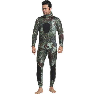 MYLEDI Men's 3mm Camo Wetsuit 2 Piece Seaweed Spearfishing Suit with Hood