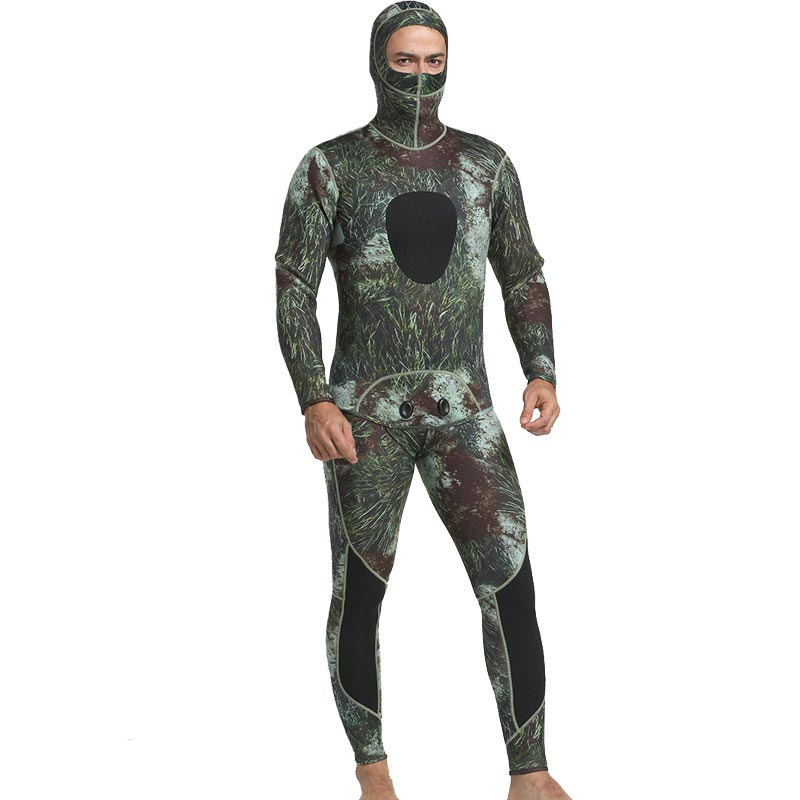 MYLEDI Mens 3mm Seaweed Beavertail Camo Wetsuit